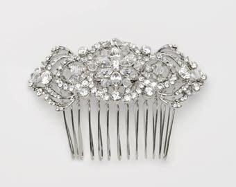 Rhinestone Wedding Hair Comb, Antique Bridal Comb, Silver Wedding Hair Comb, Swarovski Crystal Headpiece, Vintage Bridal Hair Comb ~TC-2161