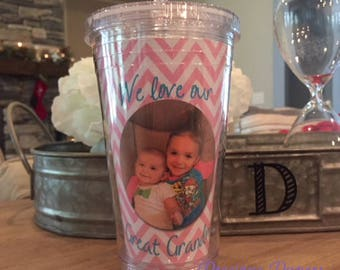 Personalized Photo Plastic tumblers with lid and straw  Grandparent gift, great grandparent gift