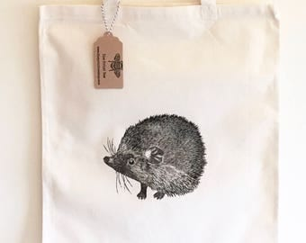 Hedgehog Tote Bag | 100% cotton | Eco friendly | Reusable shopper bag | Ethically produced | canvas bag |