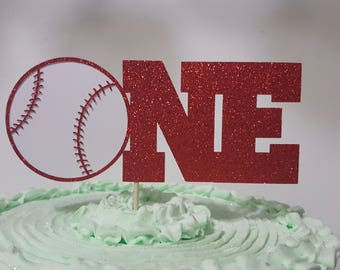 ONE Baseball cake topper red glitter photo prop cake smash 1st first birthday party decor
