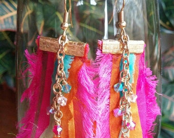 Boho Earrings, Silk Ribbon Earrings, Sari Silk Earrings, Dangle Earrings, Crystal Earrings, Boho Jewelry,  Bohemian Jewelry