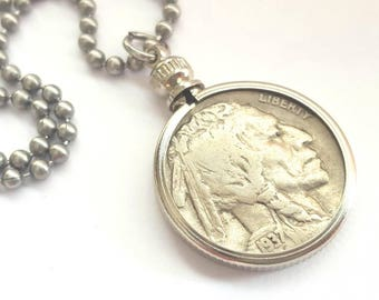 1937 Buffalo Nickel Coin Necklace - Stainless Steel Ball Chain or Key-chain