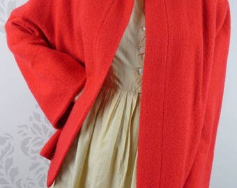VINTAGE RED COAT 1950s Swing Jacket Boucle Pockets Kaufman Brothers Size Medium