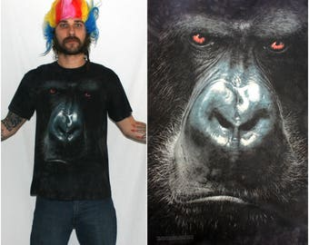 Monkey Face T Shirt. Black Shirt With A Monkey Face On It By The Mountain. Hippie Hipster Nature Lover Wildlife Monkey T Shirt