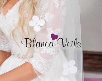 Rhinestone Flower Wedding Veil