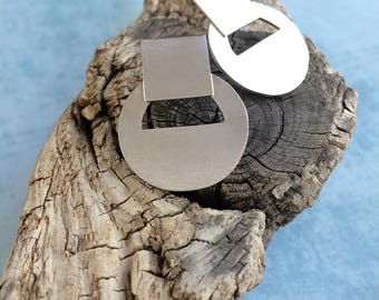 Stud silver earrings - circles silver earrings - geometric earrings - square and circle earrings