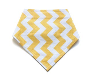 SALE || Adjustable Bandana Bib || Zig Zag Bright Yellow