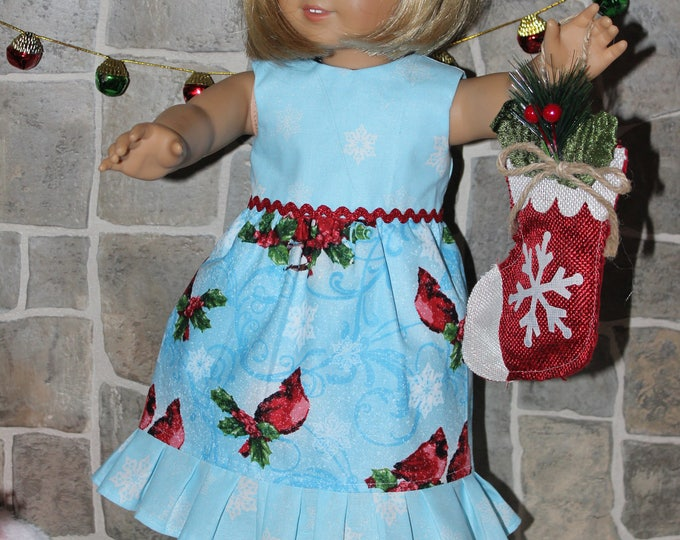 Blue Christmas Print Dress,Ribbon,Red Sandals made to fit Dolls likes of American Girl,Our Generation and other 18 inch dolls, FREE SHIPPING