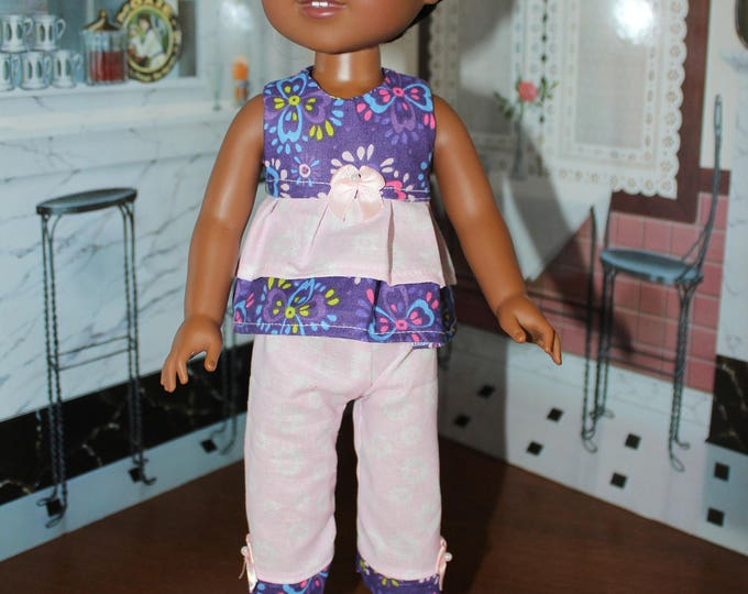 Purple Flowers Top White Pants with Bows and Shoes. Handmade to fit the Wellie Wisher Dolls and 14 5 inch Dolls, FREE SHIPPING