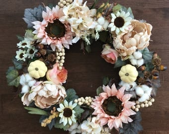 Fall Wreath, Sunflower Wreath, Cotton Wreath, Pumpkin Wreath, Fall Wreath for Front Door, Elegant Wreath, Door Wreath, Fall Decor
