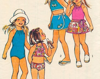 Vintage girls sewing pattern - Simplicity swimwear, one piece, bikini, skirt, halter top, playsuit - Size 3