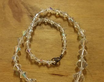 Heavy Vintage Glass Crystal Necklace