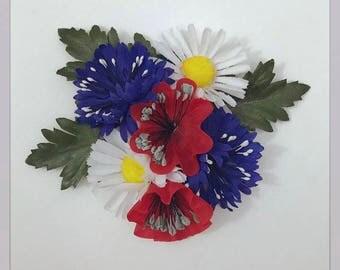 "Wildflower Hair Clip, Vintage Floral Fascinator, Red White and Blue Headpiece, Poppies Hair Accessory, Cornflower, Daisies - ""Summer Soirée"""