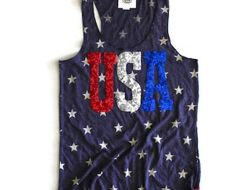 SEQUIN USA Star Tank. 4th of July Tank. 4th of July Shirt. Stars and Stripes. Fourth of July Shirt. America Tee. USA Tank. July 4th Tank