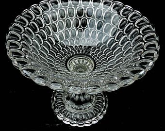 Entryway Fruit Compote Argus EAPG 1865 – 1875 Bohemian Hollywood Regency Entryway Diamond Glitter Flint Glass aka Early Thumbprint Compote