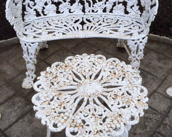 Cast Iron Outdoor Furniture Set Bench Loveseat Settee 2 Chairs Table Paired  4 Pc Ornate Grape Part 35
