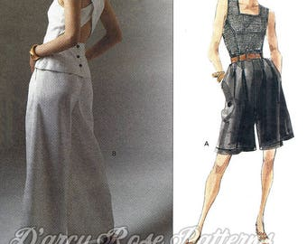 Vogue Designer Original 2499 Betty Jackson Retro 1990s Pants, Shorts and Cross Back Top Sewing Pattern