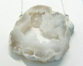 White/ Crystal Geode Pendant