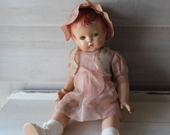 "Effanbee Patsy Lou Composition Doll, 22"" Tall, Sleep Eyes, Molded Hair, Vintage 1930's, Marked"