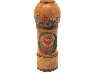 Soviet Vintage Perfume Wooden Bottle Holder, With Miniature Perfume with Dauber inside, Made in USSR in 1970s.