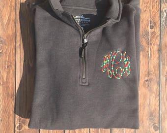 Monogram Sweatshirt, Monogram Quarter Zip Sweatshirt with Pockets, Rainbow Monogram Quarter Zip Sweatshirt
