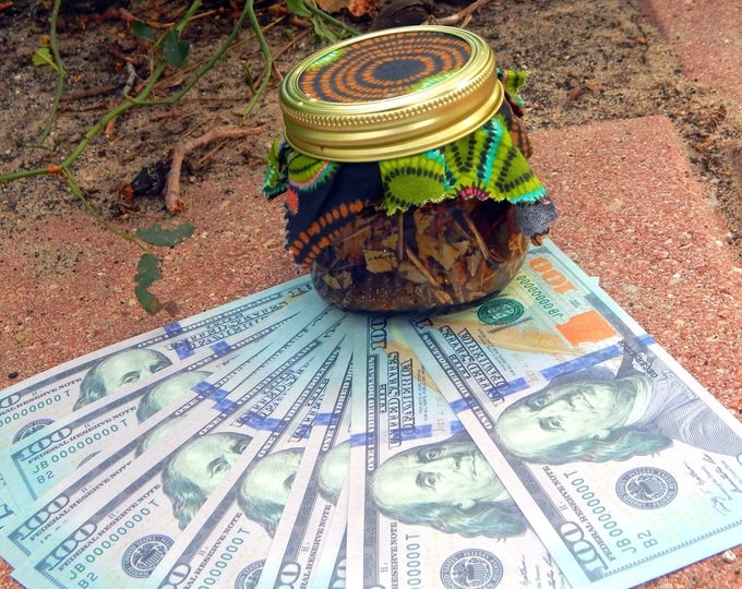 Big Benjamins HONEY JAR complete kit - 8 oz Jar includes fixed jar, tealight and 1 stone - Hand-crafted with sweets, herbs and oils