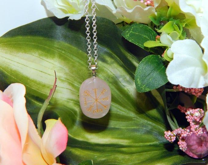 VIKING Vegvísir Heathen ROSE QUARTZ Necklace Talisman - Charm necklace includes silver link chain