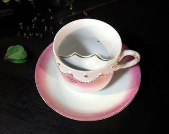 Moustache Teacup and Saucer Set, White with Pink
