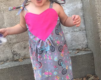 Heart Dress - Toddler Girls Size 2 - Bicycle Floral Print