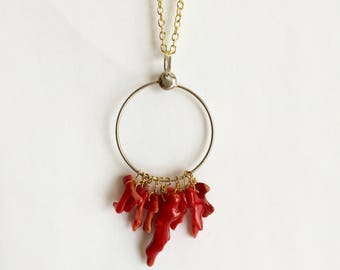 Circle with Dangling Coral Necklace