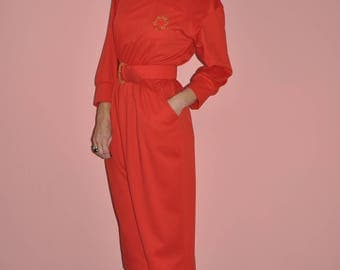 Vintage 80s Tomato Red Long Sleeve Gold Crest Belted Maxi Dress