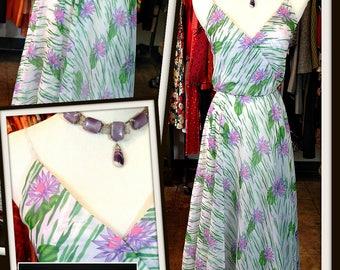 Vintage Green Lavender White Floral Chiffon Don Luis Dress FREE SHIPPING