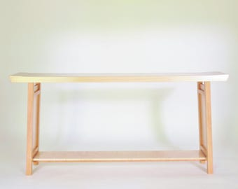 in stock long narrow shaped console table handmade solid wood table for hallways - Tall Console Table
