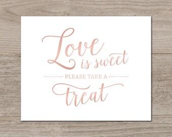 Love is Sweet Printable // Rose Gold Printable Wedding Sign // Dessert Table Sign Wedding // Rose Gold Wedding Printables