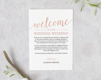 Rose Gold Welcome Bag Note // Printable Wedding Itinerary Template // Wedding Welcome Letter Template // Rose Gold Wedding Download