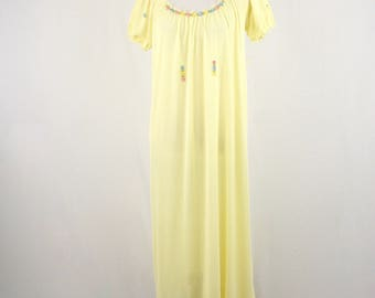 1960s Kayser Butter Yellow Nylon Long Nightgown
