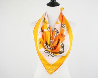 1970s Vera Modern Flowers Square Scarf Made in Japan