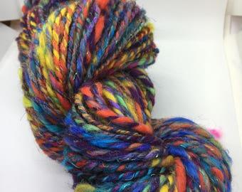 Hand Spun & Dyed Art Yarn Mixed Fibers 2ply