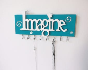 IMAGINE necklace holder, inspirational wall art canvas, best selling items, necklace display, college dorm decor, functional dorm wall art