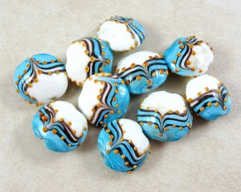 Lampwork Beads - Turquoise and White with Black and Gold Design, Turquoise Lampwork - Lamp Work Lentil Beads - 18mm - Qty. 3