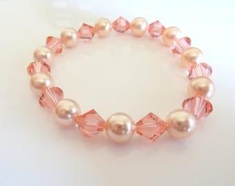 Swarovski Peach Pearl and Rose Peach Crystal Stretch Bracelet- Swarovski Light Orange Stretch Bracelet- Swarovski Peach Bracelet- 622