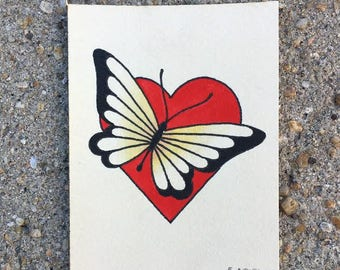Heart and Butterfly Painting