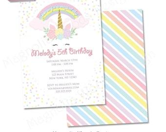 Unicorn Birthday Invitation, Girls Birthday Invitation, Unicorn Invitation, Unicorn Birthday Invite, Unicorn Invite - Printable File