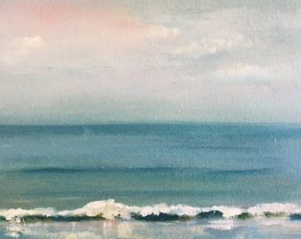 Original  Seascape Wave Painting 8x10 Oil on canvas titled 'Quality Time'