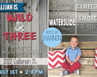 Summer Birthday Party Invite, Wood Fence Background, 4th of July, red, white, & blue - from the NORTH