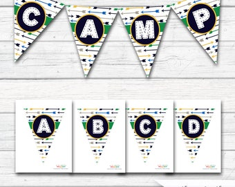 Camping Banner, Camping Birthday Decorations, Bunting Hiking Camp Out Wilderness, Create Your Own A- Z Banner, INSTANT DOWNLOAD - Printable