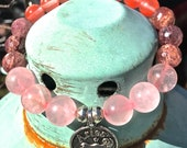 Aries Zodiac Charm Quartz Bead Healing Charm Bracelet Rose Cherry and Strawberry Quartz Chakra Meditating Bracelet Yoga Healing Zodiac Charm