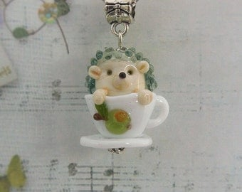 Hedgehog, pendant hedgehog, glass hedgehog, jewelry hedgehog