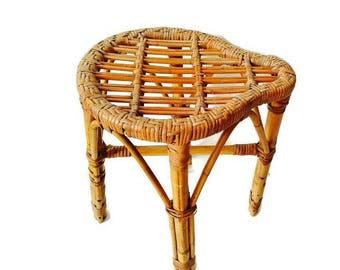 Vintage Bamboo Stool Rattan Plant Stand Stool Franco Albini Style Garden  Stool Bohemian Decor Goes Modern
