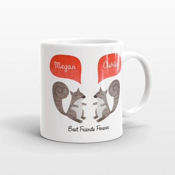 Best Friend Gift, Squirrel Mug, Personalized Best Friend Mug, Animal Best Friend Coffee Mug, Unique Friendship Gift, Friend Birthday Gift